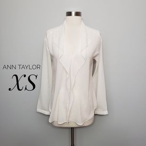 ANN TAYLOR ruffle front long sleeve blouse